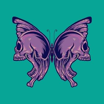 Grafika ilustracyjna i projekt koszulki czaszka motyl premium