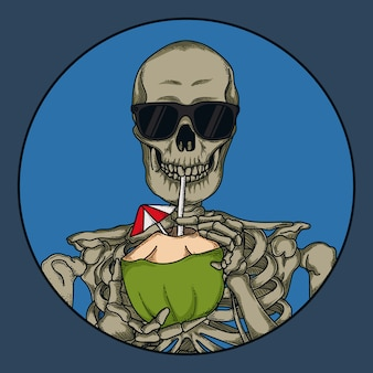 Grafika ilustracyjna i projekt koszulki czaszka piją wodę kokosową premium