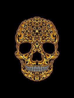 Grafika ilustracyjna i projekt koszulki złoty ornament czaszki