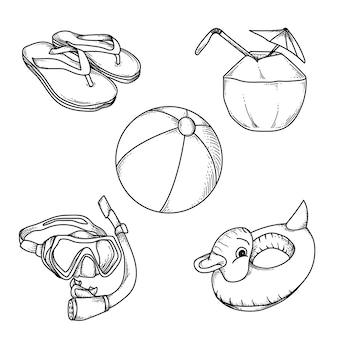 Grafika ilustracyjny projekt czarno-białe handdrawn lato zestaw premium