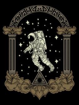 Grafika ilustratorzy astronauci w kosmosie