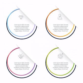 Grafika informacyjna do prezentacji biznesowych. może być używany układ strony, numerowane banery, schemat, poziome linie wycinania, sieć.