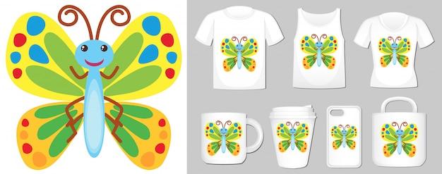 Grafika kolorowego motyla na różnych szablonach produktów