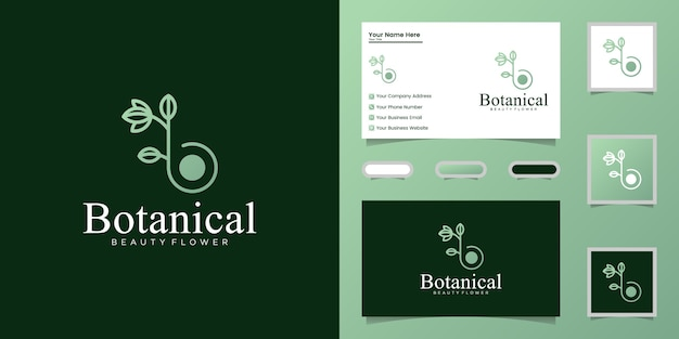 Grafika liniowa botaniczna litera b, projektowanie logo i wizytówka