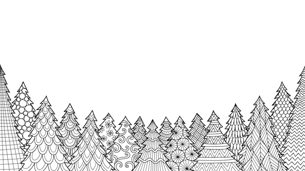 Grafika liniowa choinki na białym tle do kolorowania książki, kolorowania strony lub drukowania na rzeczy.