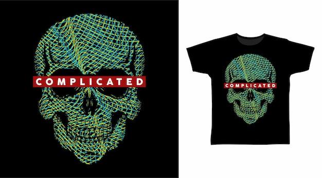 Grafika liniowa czaszki do projektowania koszulek