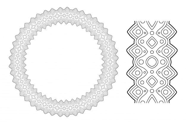 Grafika liniowa dla kolorowanka z abstrakcyjnym wieniec