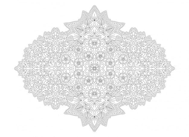 Grafika liniowa do kolorowania strony książki z kwiatami