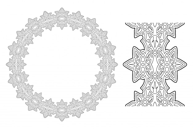 Grafika liniowa do kolorowanka z wieńcem kwiatowym