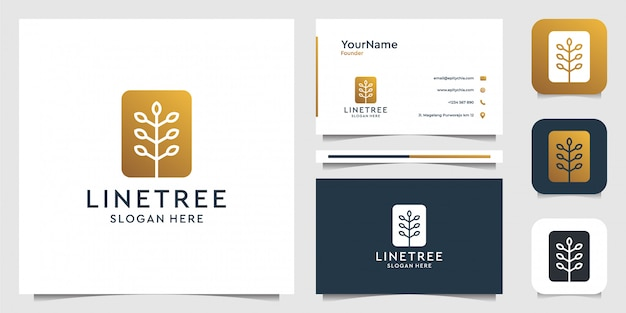 Grafika liniowa drzewa w nowoczesnym stylu. garnitur dla marki, dekoracji, spa, zdrowia, reklamy i wizytówki