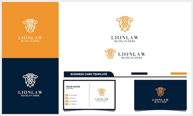 Grafika liniowa głowa lwa z koncepcją projektowania logo adwokata z szablonem wizytówki