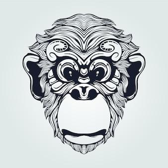 Grafika liniowa głowy małpy z ozdobnymi oczami