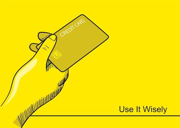 Grafika liniowa ilustracja ręki trzymającej kartę kredytową