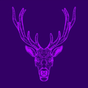 Grafika liniowa ilustracji głowy jelenia