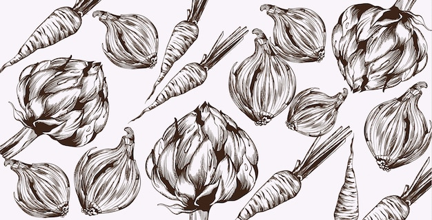 Grafika liniowa karczochów i cebuli. warzywa wzór świeżych zbiorów