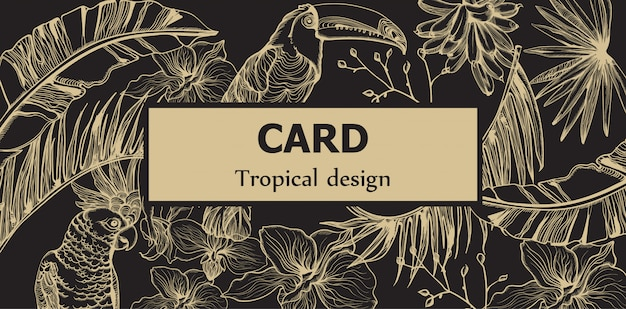 Grafika liniowa karty tropik papuga. egzotyczny wzór pozostawia dekory