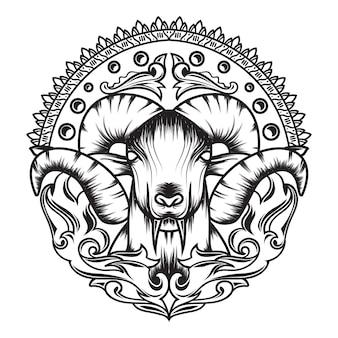 Grafika liniowa kozy mitologii z pięknym ornamentem