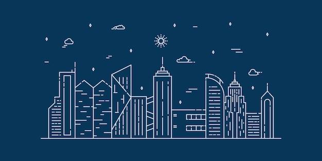 Grafika liniowa krajobrazu miasta. cienka linia miasta z budynkiem, chmurami, słońcem.