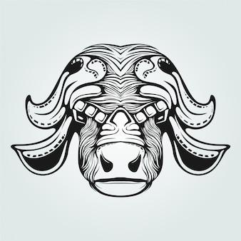 Grafika liniowa krowy z ozdobną twarzą