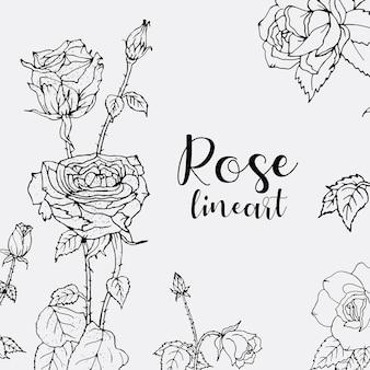 Grafika liniowa kwiaty róży. kwiatowy wzór.