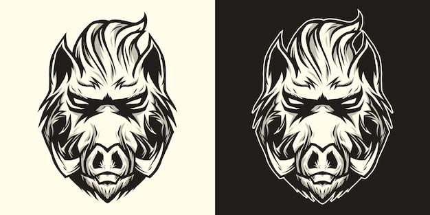 Grafika liniowa logo głowa dzika