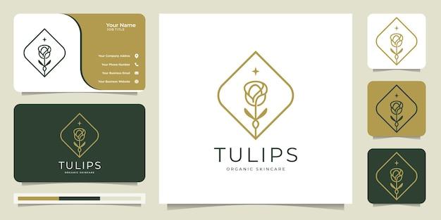 Grafika liniowa logo kwiat tulipana, organiczna, pielęgnacja skóry, styl, typ logo, szablon logo i wizytówka.