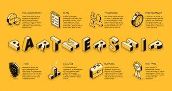 Grafika liniowa partnerstwa biznesowego, izometryczny baner. Zasady korporacyjne, zespół biznesowy