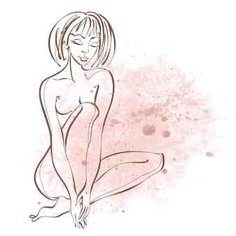 Grafika liniowa. piękna dziewczyna jest narysowana jedną linią. na tle akwareli. zdatność. wektor.