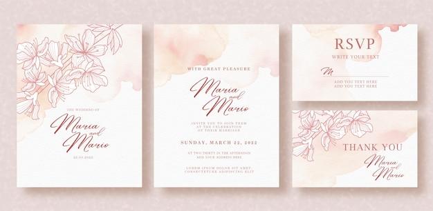 Grafika liniowa piękne różowe kwiaty na szablonie karty ślubu