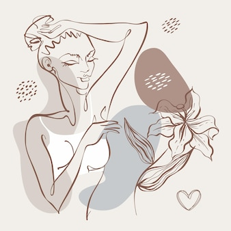 Grafika liniowa. piękno ciała. piękna dziewczyna jest narysowana jedną linią. logo kosmetologii. salon piękności. wektor.