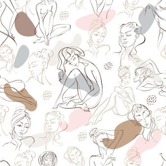 Grafika liniowa. piękno ciała. wzór z pięknymi dziewczynami z streszczenie plamy na tle. wektor.