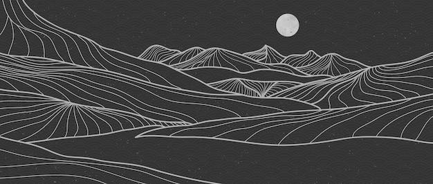 Grafika liniowa plakat górski krajobraz. geometryczne tło krajobrazowe z wzorem w stylu japońskim