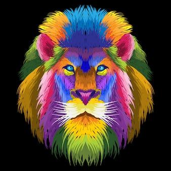 Grafika liniowa portret kolorowy lew pop-art