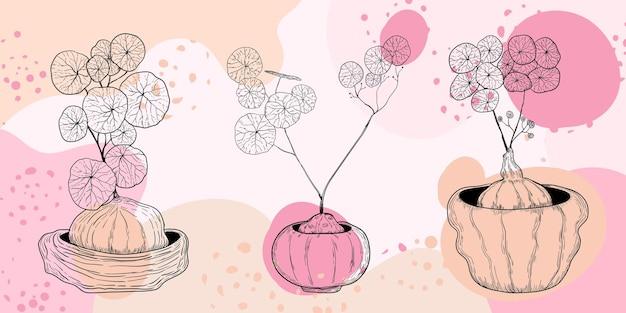 Grafika liniowa ręcznie rysowane piękna roślina minimalistyczna abstrakcja tła projekt plakatów