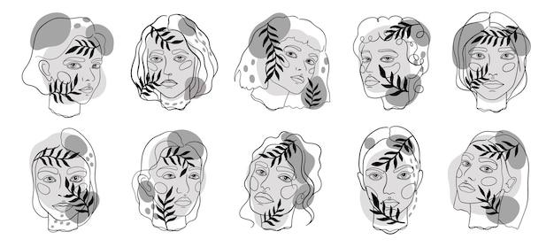 Grafika liniowa streszczenie minamal twarzy. zestaw szkiców eleganckich kobiet. ilustracja.