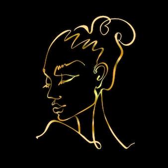 Grafika liniowa. twarz dziewczyny jest narysowana jedną linią. logo kosmetologii. salon piękności. złoto na czarno. wektor.