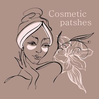 Grafika liniowa. twarz dziewczyny jest narysowana jedną linią. plastry na twarz. logo kosmetologii. salon piękności. wektor