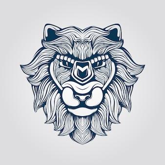Grafika liniowa twarzy lwa