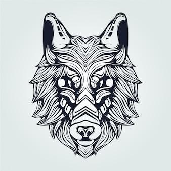 Grafika liniowa wilka w kolorze ciemnoniebieskim