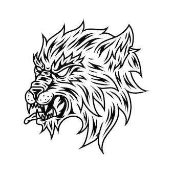 Grafika liniowa wolf vector
