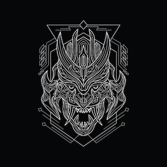 Grafika liniowa wściekła maska demoniczna ze stylem świętej geometrii