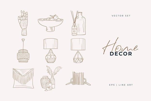 Grafika liniowa wystrój domu. doodle ilustracji