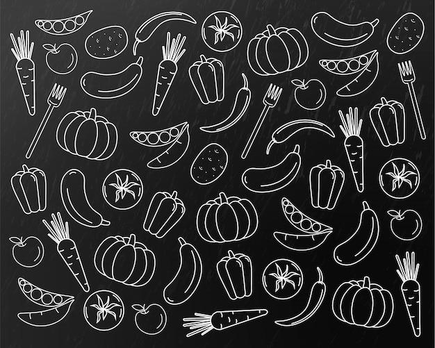 Grafika liniowa wzór warzyw