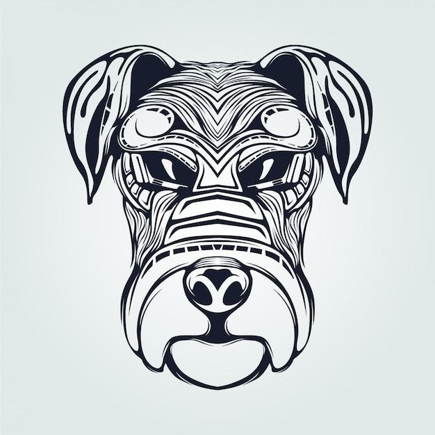 Grafika liniowa z głową psa w kolorze ciemnoniebieskim