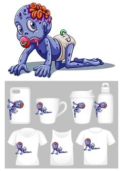 Grafika małego zombie na różnych typach szablonów produktów