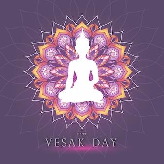 Grafika motywu dnia vesak z buddą i kolorową mandalą