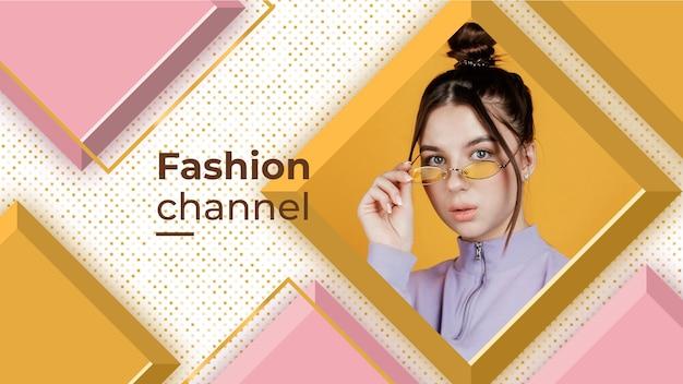 Grafika na kanale youtube z geometryczną modą