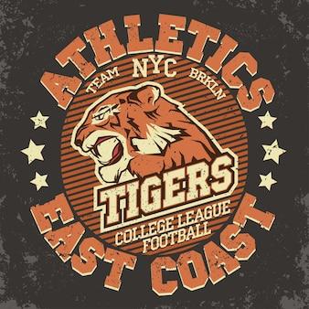 Grafika na koszulce angry tiger sport, typografia vintage denim apparel, nadruk artwork, głowa dzikiego dużego kota.