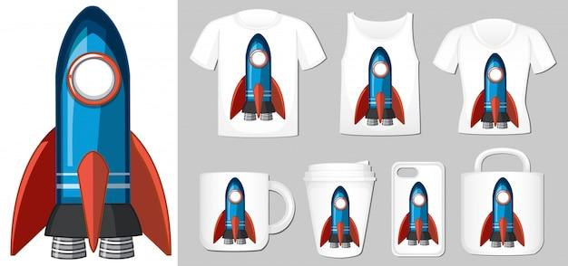 Grafika niebieskiej rakiety na różnych szablonach produktów