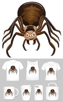 Grafika pająka na różnych szablonach produktów
